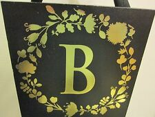 "Initial ""B"" Black and Gold Wood Plaque, NEW"