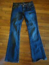 SEVEN Size 28 Flare Dark Wash Jeans Gold Stitching