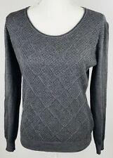 Vila Milam Womens Sweater Large Gray Harlequin Long Sleeve Round Neck
