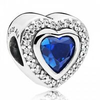Herz PANDORA Charm  silber with night blue crystal 797608NANB