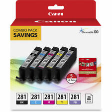 """Genuine Canon CLI-281 5-Color Ink Tank Combo Pack with 5 x 5"""" Photo Paper"""