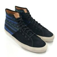 Vans Aztec Skateboard Shoes Black Suede Blue Woven Canvas Men's 13 Skate Sneaker