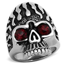 Stainless Steel Skull Crystal Eyes Ring SIZE 8-13 TK1354