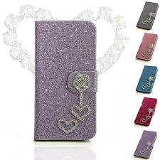 Heart Design Cell Phone Bag Rhinestone Protective Case Cover Flip Cover Case Folding Pouch