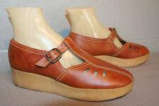 8.5 NOS BROWN CUTOUT VTG 70s PLATFORM HEEL MARY JANE T-STRAP BabyDoll BOHO Shoe
