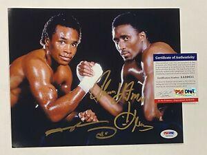 Sugar Ray Leonard & Thomas Hearns Signed 8x10 Photo Autograph PSA/DNA COA