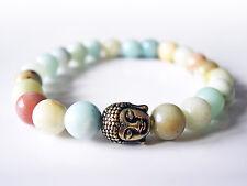 Handcrafted Semi Precious Stone Bracelet w/ Amazonite Beads & Brass Buddha Head