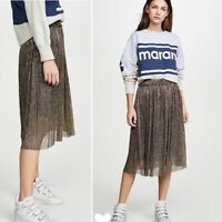 Isabel Marant Etoile Beatrice Metallic Pleated Midi Skirt, Size IT 38, NWOT