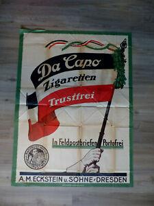 altes Plakat Da Capo Zigaretten A. M. Eckstein Dresden 119 x 89 cm um 1914