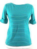 KAREN SCOTT womens knit top PETITE SMALL blue white stripes short sleeves (H716)