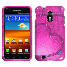 US Cellular Samsung Galaxy S II HARD Protector Case Phone Cover Pink Heart Jeans