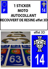 1 sticker plaque immatriculation MOTO TUNING 3D RESINE FPF PORTUGAL DEPA 14