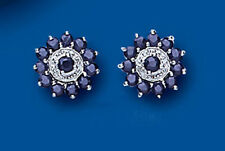 Unique Wishlist Sterling Silver Sapphire & Diamond Cluster Studs BP0144