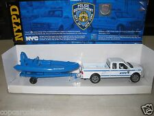 New Ray 1/43 NYPD New York City Police Ford Pickup Truck & Boat w/ Trailer