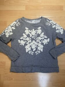 H&M Grey Sweater with White Floral Details Size M