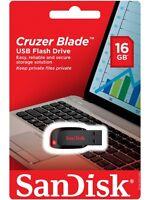 NEW SanDisk 16GB USB Flash Drive Cruzer Blade Pen Thumb Memory RETAIL Packaging