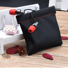 Portable PU Leather Replacement Carry Storage Bag Pouch Case For Earphone Black