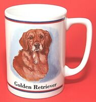 Golden Retriever Dog Mug Cup Papel Vintage Maystead Art White Ceramic EUC