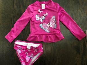 Gymboree Girl's Swim Suit Dark Pink Butterflies Long Sleeve Set w/ Bottom 3T
