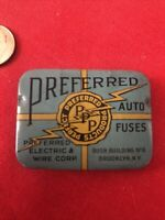 Preferred auto fuses electric wire Corp Bush Building Brooklyn NY vintage tin