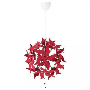 "Ikea Ramsele Ceiling Pendant Lamp 17"" Decorative Flower Dark Red - New"