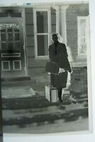 (3) B&W Press Photo Negative Woman Suitcases Posing by Piano Building Door T1649