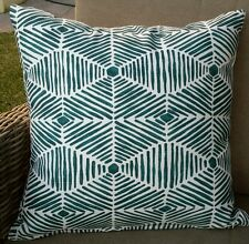 Navy Blue and Deep Turquoise Weave Cushion Cover - 50cm x 50cm