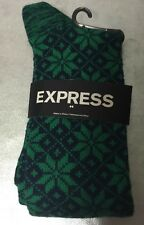 NWT Express Men's 1 Pair Socks- Fits Men's Shoe Sizes 8-12 Green Black