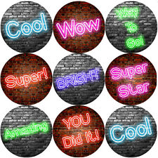 144 Neon Praise Words Reward Stickers 30mm in Size for Teacher, Parent,