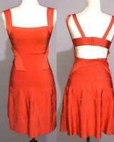 Bebe Open Back Strappy Dress Mandarin Red Size S/P Sexy Cocktail Casual Party