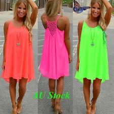 AU Plus Size Women's Summer Beach Beachwear Bikini Wear Cover Up Neon Sun Dress