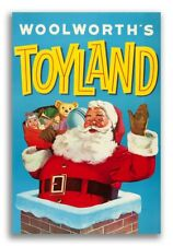 """1950s Woolworth's """"Toyland!"""" Vintage Christmas Santa Claus Ad Poster - 24x36"""