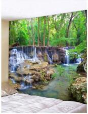 Nature Waterfall Creek Tree Art Tapestry Wall Hanging Scenery Tapestries Decor