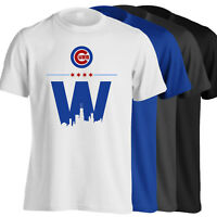 Chicago Cubs T-Shirt - World Series Champs Cubs Win W in 4 Colors - S-5XL