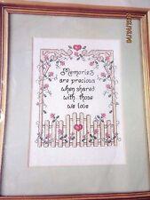CREATIVE CIRCLE CROSS STITCH KIT - PRECIOUS MEMORIES SHARED WITH LOVE NIP