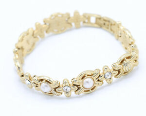 Vintage 1970s Gold Tone, Faux Pearl and Clear Rhinestone Bracelet