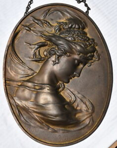 Vintage Bradley & Hubbard B&H no.1820 Bronze Plated Oval Lady Plaque c.1880's