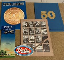 Vtg DELTA AIRLINES SYSTEM ROUTE MAP 1950 + Label + 3 Souvenir Books 1973 - 1979