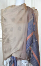Angkor Wat Temple Beige, Blue Color Silk shawl, Wrap, Stole from Cambodia!