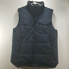 The North Face Mens Ski Winter Puffer Vest Jacket Navy Blue Buttons Pockets Sz S
