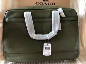 Coach Hudson Smooth Leather Briefcase Bag in Surplus Green - #F71561 - NWT $450