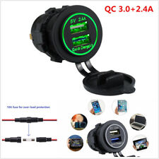Car 2.4A Dual USB Charger Socket Power Outlet Quick Charge 3.0 for iPhone GPS