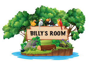 Jungle Birds Animal Childrens Bedroom Wall Door Sticker With Name Of Choice 30cm