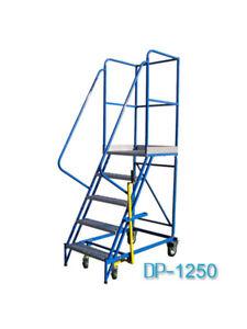 Fahrbare Podestleiter Treppen mit Rollen 4 Stufe Stahl Leiter Plattform DP125