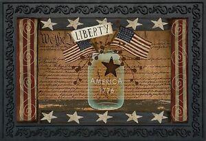 """Liberty Primitive Doormat Indoor Outdoor Patriotic Holiday Mason Jar 18"""" x 30"""""""