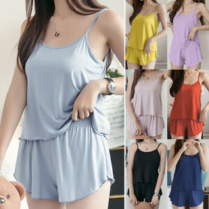 Women Comfy Pajamas Set Strappy Camisole Shorts Loungewear Summer Sleepwear Suit