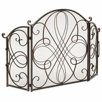 Black 3 Panel Brushed Wrought Iron Metal Fireplace Screen Cover Decor Protector