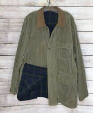 Vtg Green Corduroy Mens Reversible Plaid Jacket Barn Chore Coat Korea