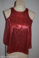 Womens SEQUIN COVERED DRESSY CROP TOP Tank Top SALMON CORAL Lined XS S M L XL