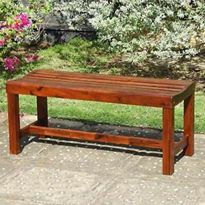 Highland Acacia Americana 55-inch Backless Bench with Contoured Seat - Stain